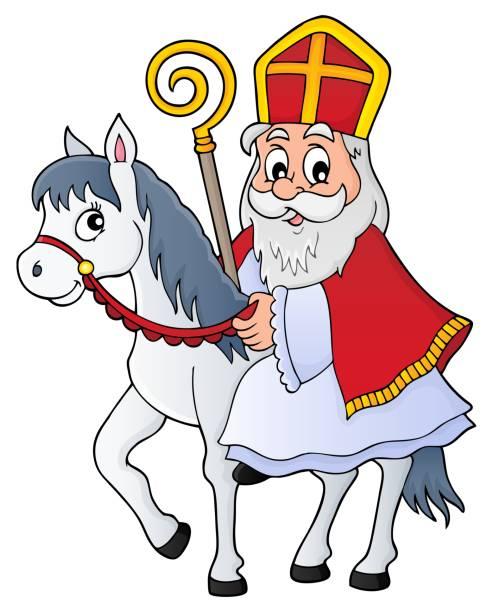 Sinterklaas on horse theme image 1 - eps10 vector illustration.